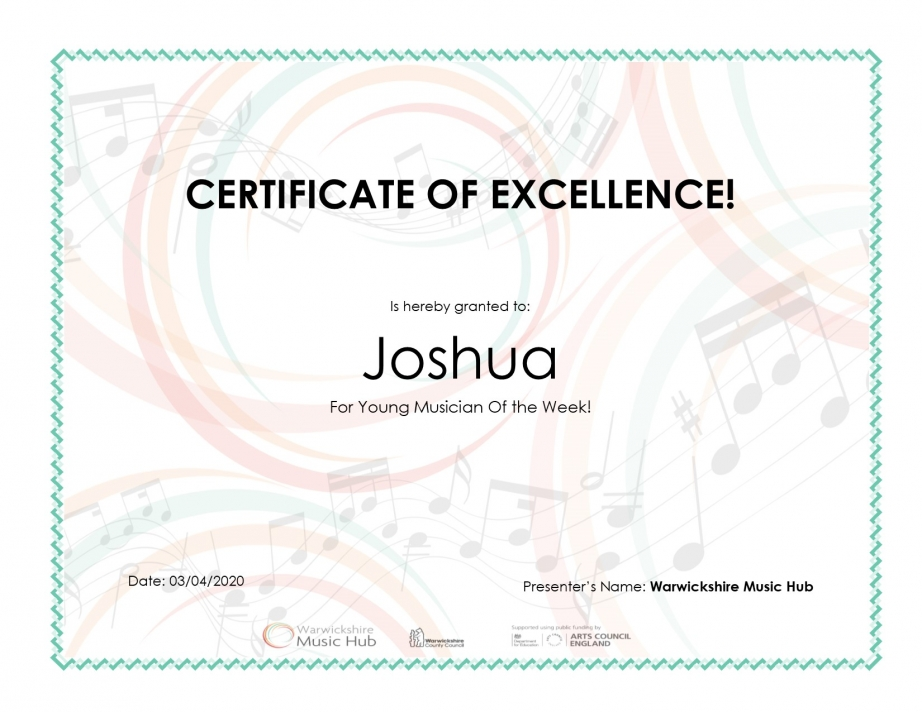 Certificate for Joshua