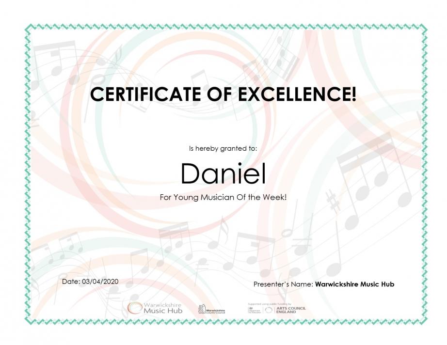 Certificate for Daniel